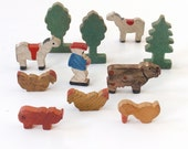 Vintage Wooden Animals Trees and Man