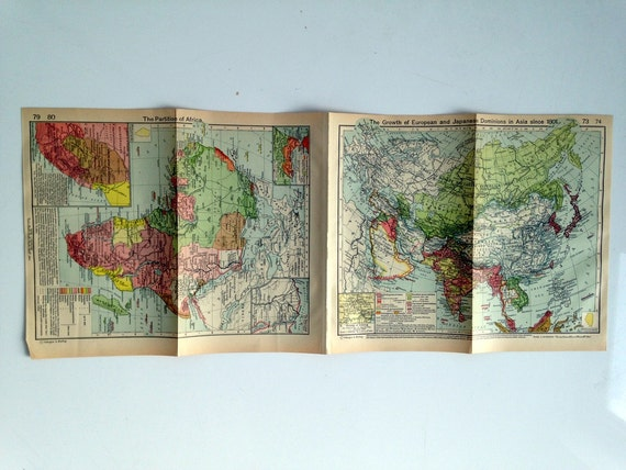 Double Sided Medieval Map - Europe and its expansion- The Partition of Africa