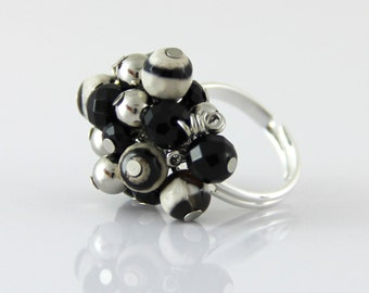 Black White Stone Cluster - Adjustable Cluster Ring - Faceted Black Onyx Striped Agate Stone Silver Neutral Fun Cocktail Ring