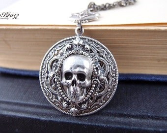 Cloven-aged sterling silver plated brass skull gothic necklace, neo Victorian, haunted,darkness S010