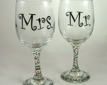 Mr and Mrs Wine Glasses, personalized, and customized, hand painted design