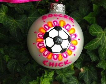 Soccer Ornament, Soccer Chick - Hand Painted Christmas Ornament - Personalized Keepsake - Soccer Team or Coach's Gift, Soccer Bauble, Sports
