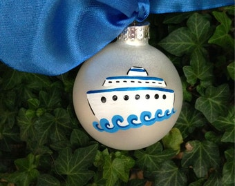 Cruise Ship Ornament, All Aboard, Vacation Souvenir, Personalized Christmas Ornament, Hand Painted, Christmas Bauble