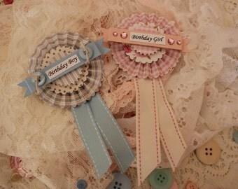 Birthday Girl or Birthday Boy Rosette Style Badges