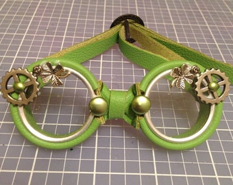 OOAK Blythe Bright Green Leather Steampunk Goggles by Kaleidoscope Kustoms - Lucky Charms
