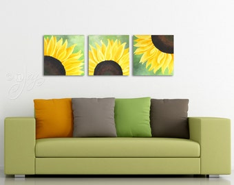 Sunflower painting, 3 SUNFLOWERS on Green, Set of 3 12x12 Floral Paintings, Home and Office Wall Art