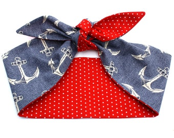 Vintage Inspired Reversible Neck scarf or Head scarf, Retro Anchors and Polka Dots
