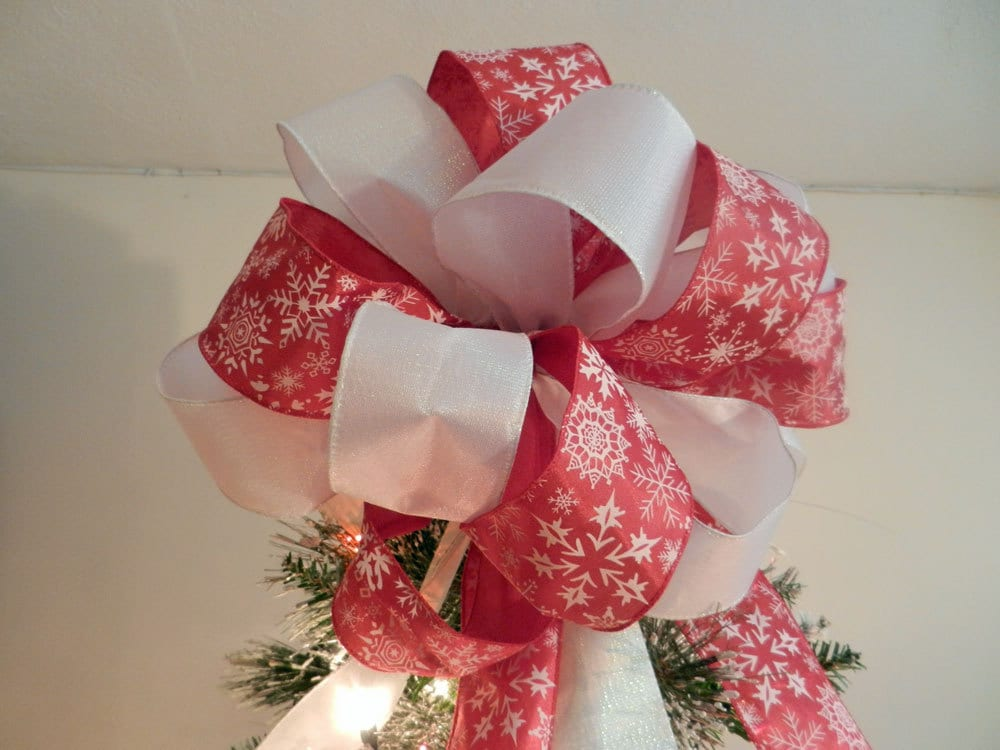 Large Christmas Tree Topper Bow Red Ribbon By Creativelycarole