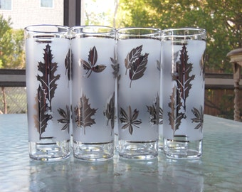 Vintage Frosted Silver Leafed Highball Glasses