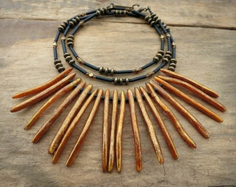Long Bohemian Statement Necklace, black and gold tribal necklace with gold stick coral fringe, tropical Boho jewelry
