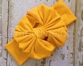 Mustard Yellow Messy Bow Head Wrap