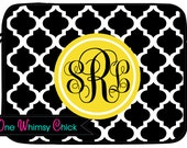 Monogrammed Laptop Case, Black Quatrefoil Macbook Sleeve, iPad Case
