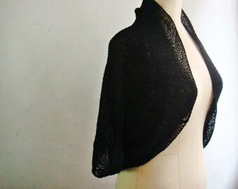 Black Knit Shrug, Simple Bolero Shawl, Knit Cotton Shrug