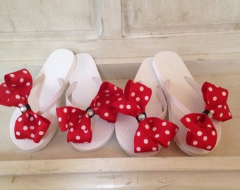 Red with white polka dots oversized  Bow on flip flops