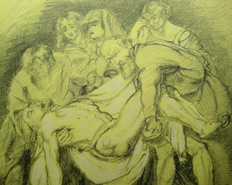 """Study of a Rubens painting """"The Entombment"""", in pencil - 8.1"""" x 11.1"""""""