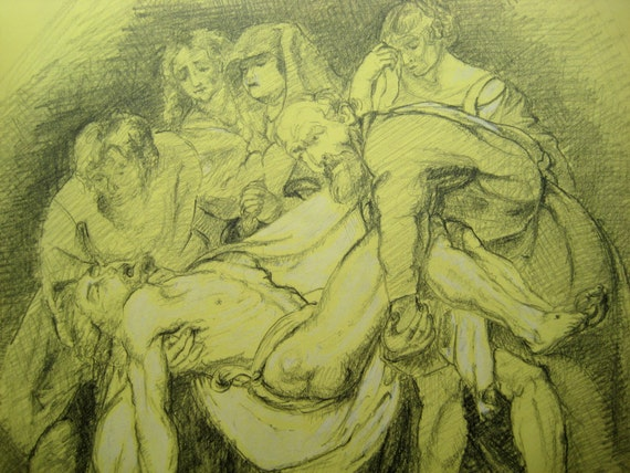 "Study of a Rubens painting ""The Entombment"", in pencil - 8.1"" x 11.1"""