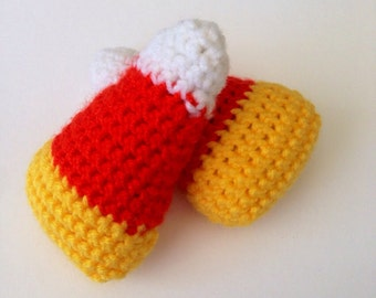 Candy Corn cat toy, small dog toy, crochet pet toy