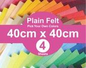 4 Plain Felt Sheets - 40cm x 40cm per sheet - pick your own colors (A40x40)