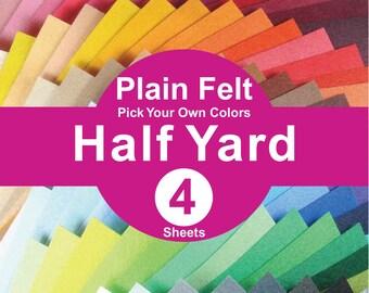 4 HALF YARD Plain Felt Fabric - pick your own color (A1/2y)