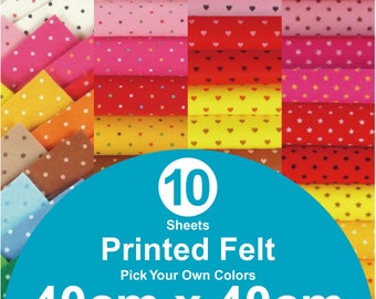 10 Printed Felt Sheets - 40cm x 40cm per sheet - pick your own colors (PR40x40)
