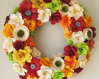Paper Flower Wreath  12 to 13 inch wreath  custom orders taken Any color  scheme