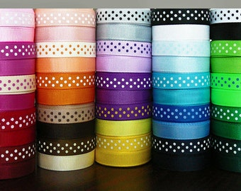 SWISS DOTS and Matching SOLID 3/8 Grosgrain Ribbons, 50 yards