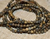 100pcs Natural Gemstone Beads Brown Landscape Stone 4mm 16 Inches