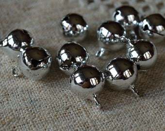 20pcs Jingle Bell Mix Charms Jewel Silver Tones Brass 14mm Christmas Decor
