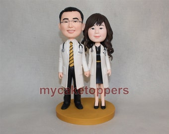 cute wedding cake topper/ cake topper for wedding/ cake topper wedding/ custom figurine/ doctor/ nurse/ lab/