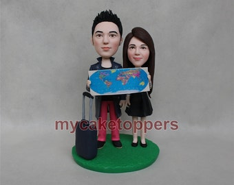 travel wedding cake topper, travelling cake topper, luggage, map, tourism, tour, trip, custom wedding cake topper, funny wedding cake topper