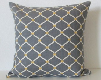 Gray yellow lattice Dayna cliffslide throw pillow cover