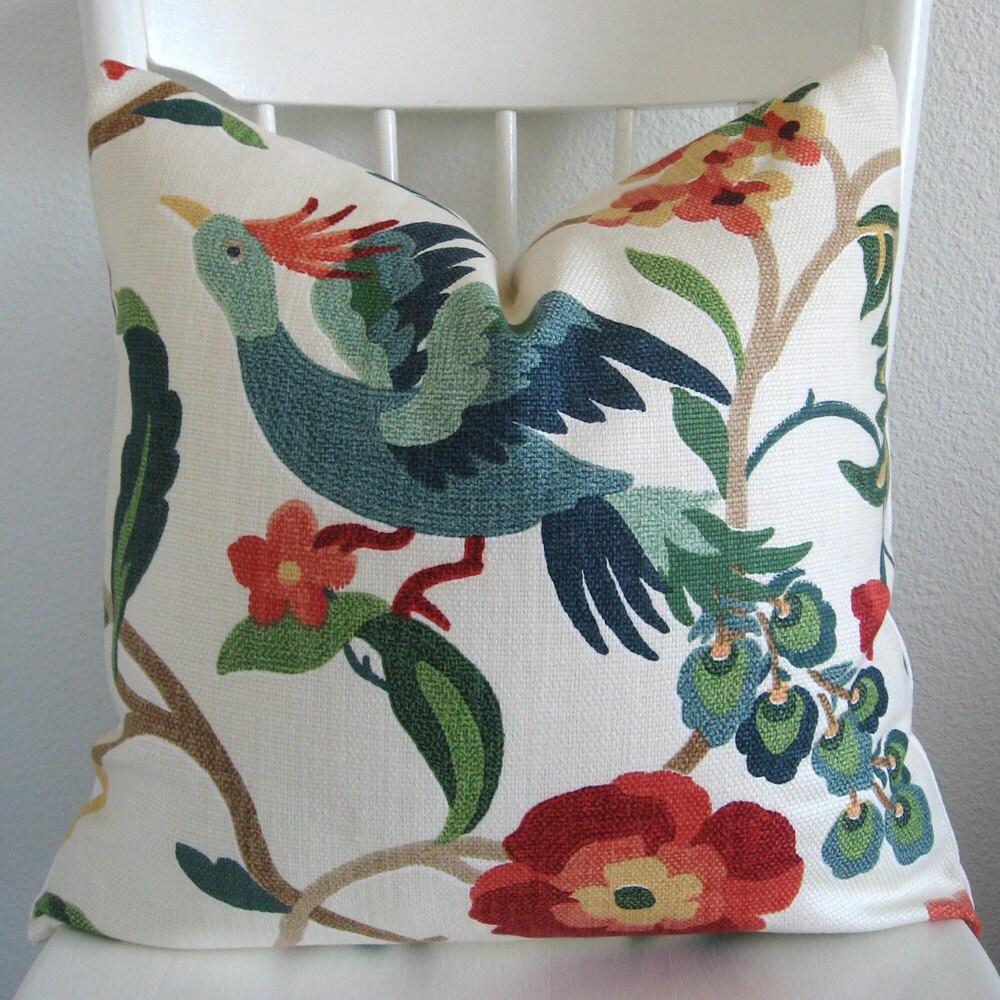 Colorful Bird Throw Pillows : Lucy Eden colorful floral exotic bird decorative pillow cover