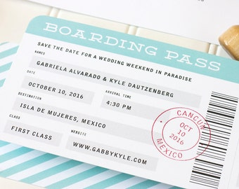 Boarding Pass Save the Date - Destination Wedding Letterpress Save the Date - Airplane Letterpress, Foil Stamp or Flat Printing - DEPOSIT