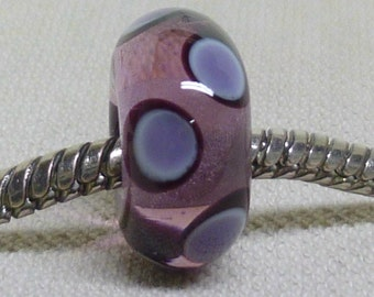 Handmade Lampwork European Charm Bead Transparent Purple with Black and Violet Dots