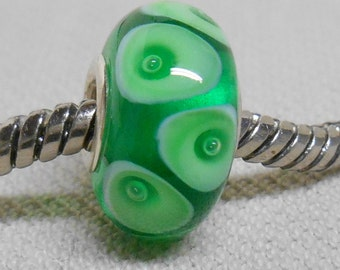 Transparent Green with Bubble Dots Handmade Lampwork Bead Silver Cored Bead