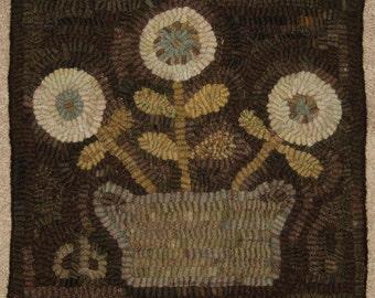 Primitive Rug Hooking Pattern-Basket of Flowers