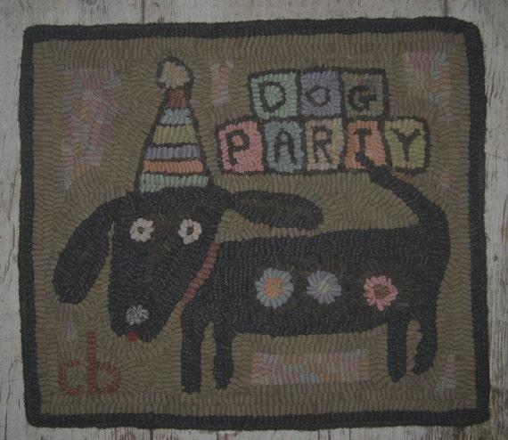 Dog Ate Some Rug: Items Similar To Primitive Rug Hooking Pattern-Dog Party