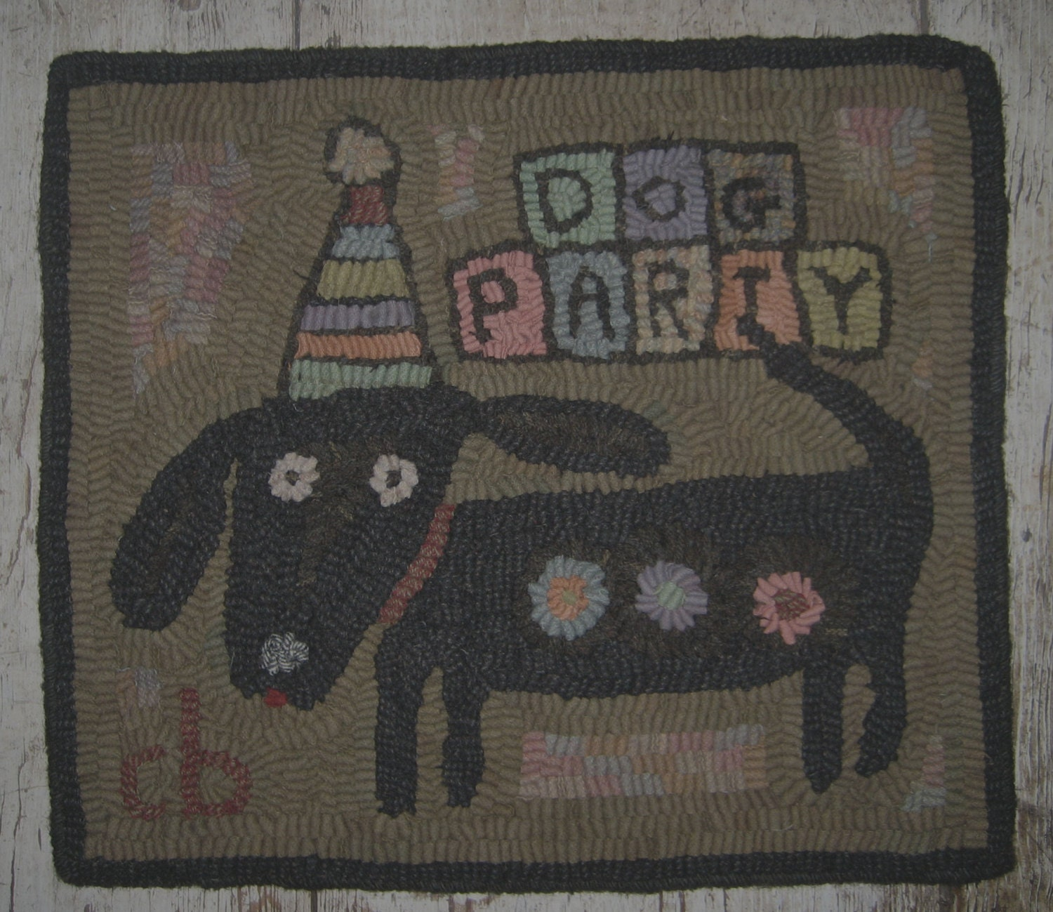 Dog Hooked Rugs: Primitive Rug Hooking Pattern-Dog Party