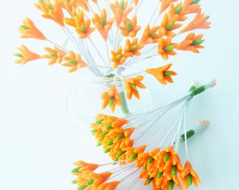 Miniature Polymer Clay Flowers Supplies for Dollhouse, set of 20 stems