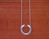 Horse Head Horseshoe  Pendant Equestrian Gifts Sterling Silver Horse Jewelry on Silver Chain