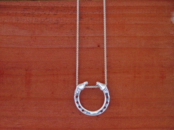 Horse Head Horseshoe Pendant Sterling Silver on Chain,Equestrian Jewelry,Horse Pendants,Equestrian Necklace