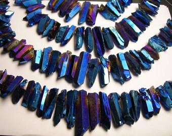 Quartz Blue mystic rainbow crystal points top drilled - 32 pcs -  Full strand - WQA5