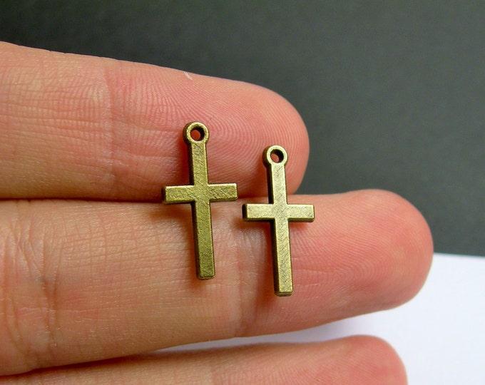 24 cross charm - bronze - brass - 24 pcs - small cross - BAZ120