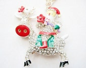 Christmas Jewelry,Santa Necklace, Santa Claus Necklace, Holiday Necklace,Xmas Necklace,Secret Santa Gift, Christmas Gift