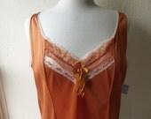 Slip Dress Plus Size Pumpkin Burnt Orange Glam Garb Handmade USA Romantic Nightie Victorian Vintage Steampunk Hand Dyed Bohemian Hippie Chic