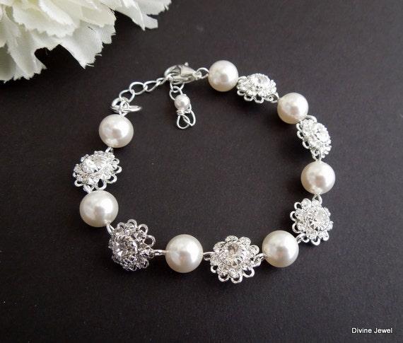 Bridal Bracelet,Bridal Rhinestone Bracelet,Swarovski Pearls,Wedding Pearl Bracelet,Pearl Rhinestone Bracelet, Cuff, Swarovski Crystal, JENNA