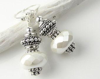 White Earrings Silver Beaded Dangle Earrings Big Earrings Sterling Leverback Earrings Festive Winter Jewelry Silver Jewelry Gift for Women