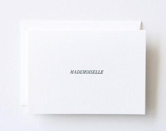 Mademoiselle - Letterpress Printed Greeting Card