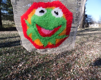Kermit the Frog vintage unfinished latch hook rug Kermit the Frog 18 x 17.5 inch rug about three quarters finished