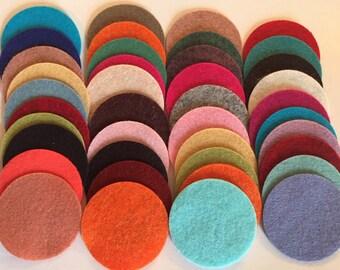 Wool Felt Circles 40 - 1 3/4 inch Random Colored. 2594